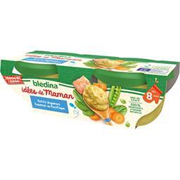 Blédina Blédina Les Idées de Maman - Petits légumes saumon du Pacifique, de 8 à 36 mois les 2 bols de 200 g