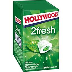 Hollywood Hollywood 2Fresh - Chewing-gum menthe verte-chlorophylle s-sucres les 3 boites de 10 dragées - 66 g