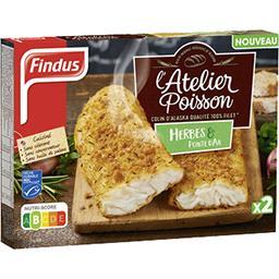 Findus Findus L'Atelier Poisson - Colin d'Alaska herbes pointe d'ail la boite de 2 - 225 g