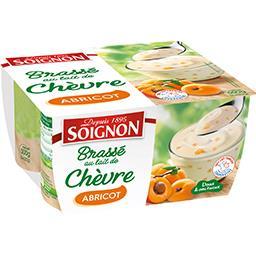 Soignon Soignon Yaourt brassé au lait de chèvre abricot les 4 pots de 125 g