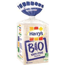 Harry's Harrys Pain de mie Bio sans croûte 100% Mie Nature le paquet de 13 tranches - 325g