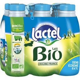 Lactel Lactel Lait demi-écrémé BIO U.H.T. les 6 bouteilles de 1 l