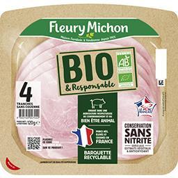 Fleury Michon Fleury Michon Jambon BIO français la barquette de 4 tranches - 120g