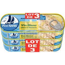 Petit Navire Petit navire Filets de maquereaux marinés au vin blanc, citron et romarin sans arômes ajoutés le lot  3 boîtes de 175g - 525g