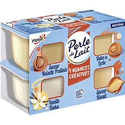 Yoplait Yoplait Perle de Lait - Spécialité laitière 4 saveurs assorties les 4 pots de 95 g