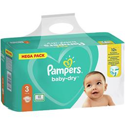 Pampers Pampers Couches baby-dry taille 3, 6-10kg Le paquet de 102 couches