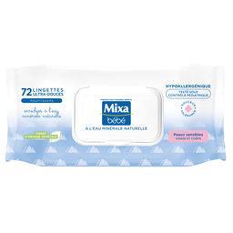 Mixa Mixa Lingettes bébé peaux sensibles - à l'eau minérale naturelle le paquet de 72 lingettes