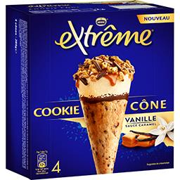 Nestlé Extrême Cookie cône vanille sauce caramel la boite de 4 cônes - 284 g