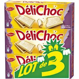 Delacre Délichoc Biscuits au chocolat blanc le lot de 3 boîtes de 150 g