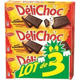 Delacre Délichoc Biscuit au chocolat noir fondant le lot de 3 boîtes de 150 g