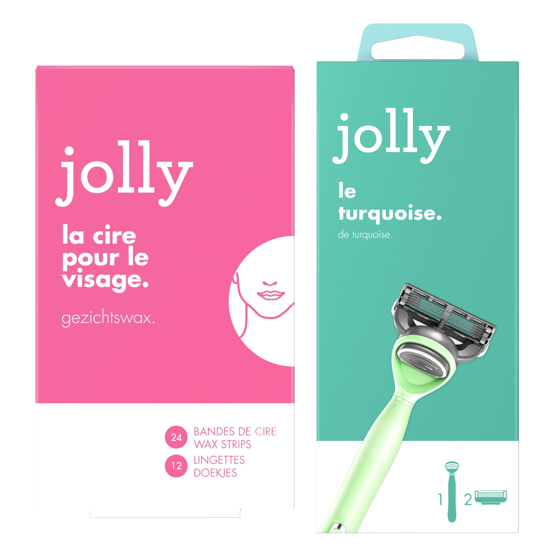 Jolly Jolly Rasoir turquoise pour femme, Le manche + 2 lames et bandes de cire corps, pour femme, Le paquet de 32 bandes Le lot