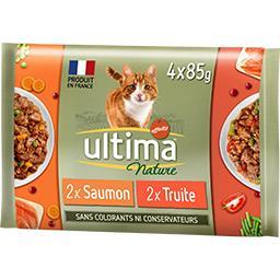 Ultima ULTIMA NATURE bouchées pour chat saumon & truite les 4 sachets de 85 g