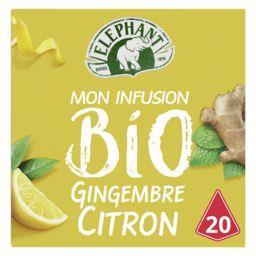 Lipton Eléphant Mon Infusion BIO gingembre citron la boite de 20 sachets - 34 g