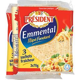 Président Président Emmental râpé fondant les 3 sachets de 70 g