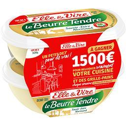 Elle & Vire Elle & Vire Le Beurre Tendre demi-sel 80% MG les 2 barquettes de 250 g