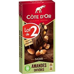Côte d'Or Côte d'Or Chocolat noir amandes entières le lot de 2 tablettes de 180 g