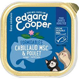 Edgard Cooper Edgard cooper Barquette pour chats adultes - cabillaud msc et poulet frais sans céréales La barquette de 85g