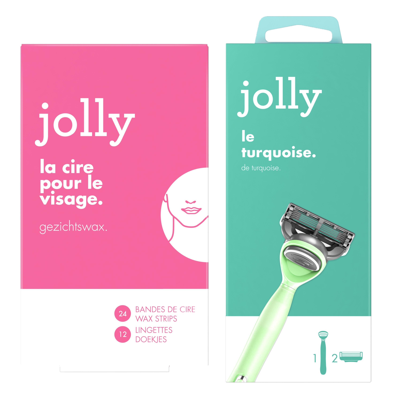 Jolly Jolly Rasoir turquoise pour femme et bandes de cire maillot Le lot