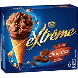 Nestlé Extrême L'Original - Glaces chocolat pépites de nougatine la boite de 6 cônes - 426 g