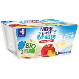 Nestlé Nestlé P'tit Brassé BIO - Pomme pêche, dès 6 mois les 4 pots de 90 g
