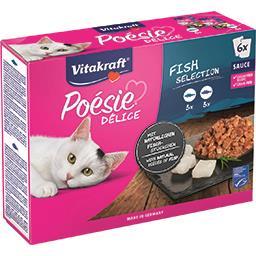 Vitakraft Vitakraft Poésie Délice sauce poissons pour chats les 6 sachets de 85 g