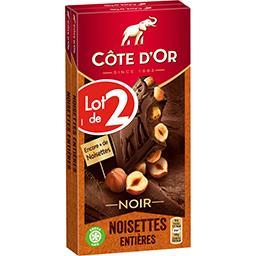 Côte d'Or Côte d'Or Chocolat noir noisettes entières le lot de 2 tablettes de 180 g