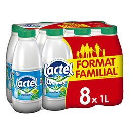 Lactel Lactel Lait écrémé avec vitamine D les 8 bouteilles de 1 l - Format Familial