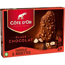 Côte d'Or Côte d'Or Bâtonnet glace chocolat enrobé chocolat & noisettes la boite de 4 - 360 ml