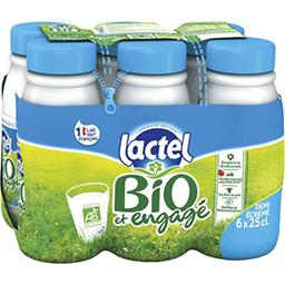 Lactel Lactel Lait demi-écrémé BIO U.H.T. les 6 bouteilles de 25 cl