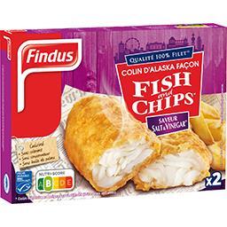 Findus Findus Colin d'Alaska façon Fish and Chips saveur sel & vinaigre la boite de 2 - 240 g
