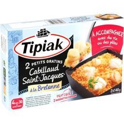 Tipiak Tipiak Petits gratins cabillaud Saint-Jacques à la bretonne les 2 barquettes de 140 g