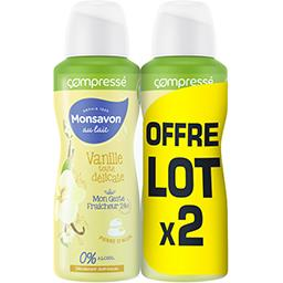 Monsavon Monsavon Déodorant femme anti transpirant lait & fleur de vanille le lot de 2 spray compressés de 100ml