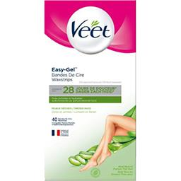 Veet Veet Bandes de cire Easy-Gel peaux sèches les 40 bandes + 4 lingettes