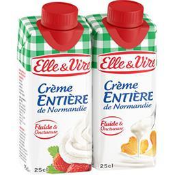Elle & Vire Elle & Vire Crème entière de Normandie fluide les 2 briques de 25 cl