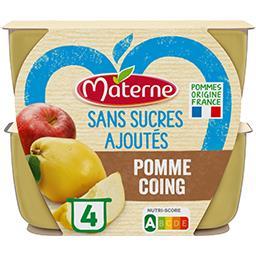 Materne Materne Sans Sucres Ajoutés - Purée pomme coing les 4 pots de 100 g