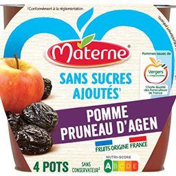 Materne Materne Sans Sucres Ajoutés - Purée pomme pruneau les 4 pots de 100 g