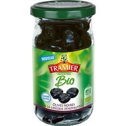 Tramier Tramier Olives noires Bio à la grecques dénoyautées avec un filet d'huile d'olive et de sel le bocal de 150g