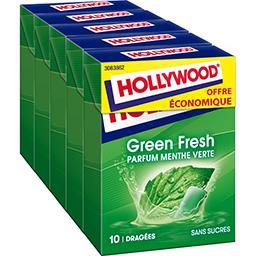 Hollywood Hollywood Chewing-gum Green Fresh menthe verte sans sucres les 5 boites de 14 g - Offre Economique