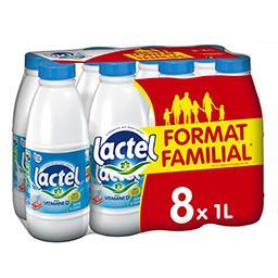 Lactel Lactel Lait demi-écrémé avec vitamine D les 8 bouteilles de 1 l - Format Familial