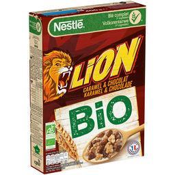 Nestlé Nestlé Lion Céréales petit déjeuner BIO caramel chocolat la boite de 400g