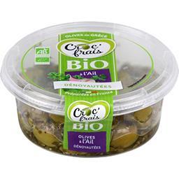 Croc' frais Croc'frais Olives vertes BIO dénoyautées à l'ail la barquette de 120g