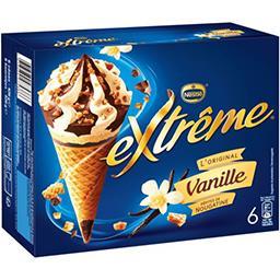 Nestlé Extrême L'Original - Glaces vanille pépites de nougatine la boite de 6 cônes - 426 g