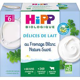 HiPP Hipp biologique Délices de Lait - Fromage blanc nature sucré BIO, dès 6 mois les 4 coupelles de 100 g