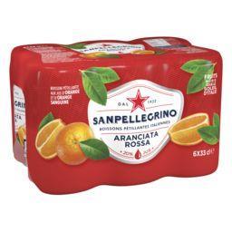 San Pellegrino San Pellegrino Boisson pétillante aux jus d'orange et d'orange sanguine les 6 canettes de 330 ml