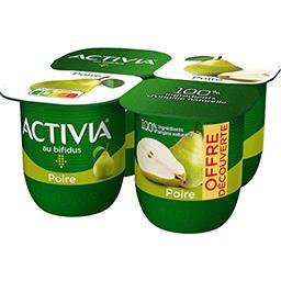 Danone Danone Activia - Lait fermenté poire les 4 pots de 125 g