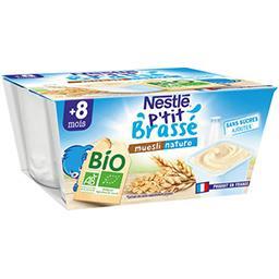Nestlé Nestlé P'tit Brassé BIO - Muesli nature, dès 8 mois les 4 pots de 90 g