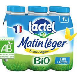 Lactel Lactel Lait Matin Léger BIO U.H.T. facile à digérer les 6 bouteilles de 1 l