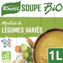 Knorr Knorr Soupe liquide Bio mouliné de légumes variés la brique de 1L
