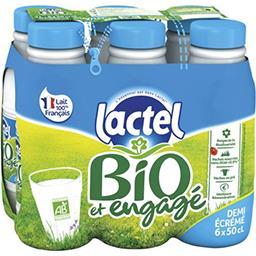 Lactel Lactel Lait demi-écrémé BIO U.H.T. les 6 bouteilles de 50 cl