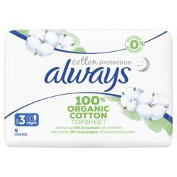 Always Always Serviettes hygiéniques coton protection taille 3 nuit le paquet de 9 serviettes